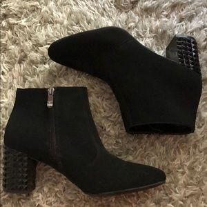 Studded heeled suede booties